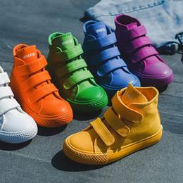 Çocuklar için sneakers Yüksek Sneakers Çocuklar Kanvas Ayakkabılar Katı Magie Sopa Ayakkabı Erkek Kız Açık Rahat Nefes Ayakkabı VT1420 supplier high stick nereden yüksek sopa tedarikçiler
