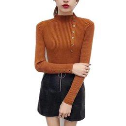 Mulheres de camisola de gola alta de acrílico on-line-Metade coreano Camisola De Gola Alta Camisola Mulheres 2019 Outono Fino de Malha Pullovers Manga Comprida Magro Acrílico Moda Tops