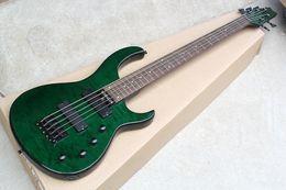 Кленовый шпон гитары онлайн-Заводская зеленая 5-струнная электрическая бас-гитара с черным крепежом