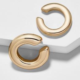 Ohrstulpe online-Clip Ohrringe Set ungleiche Größe Gold geometrische C-Form Ohrclip Damen Ohr Manschette Fashion Brand Frauen Schmuck KS-2019 Ohrringe