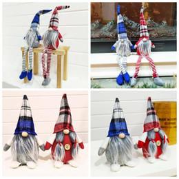 Niños adornos de juguete de navidad online-Buffalo tela escocesa de Navidad Muñecas Figuras hechas a mano Navidad Gnome sin rostro juguetes de peluche para los regalos de Navidad Adornos Niños Decoración ZZA1441