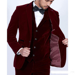 3a1fa2e8e998 vestiti rosso su misura Sconti Borgogna Velluto Uomo Abiti 2019 Slim Fit  Blazer 3 pezzi Tailor