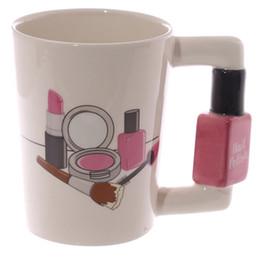2019 café polaco Tazas de cerámica creativas Herramientas de niña Kit de belleza Ofertas Esmalte de uñas Mango Té Taza de café Taza Tazas personalizadas para mujeres Regalo café polaco baratos