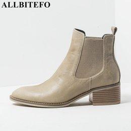 c2bacd23 ALLBITEFO marca natural de cuero genuino mujer botas moda chicas botines  mujer Primavera Invierno tacón alto tamaño 34-42