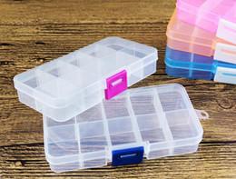 2019 recipientes de armazenamento de compartimento de plástico transparente Frete Grátis Ajustável 10 Compartimento De Plástico Transparente Caixa De Armazenamento para Jóias Brinco Ferramenta Recipiente desconto recipientes de armazenamento de compartimento de plástico transparente