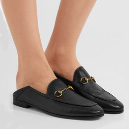 2b126ec9324e Princetown Chaussures Femme Mules Slip On Goldtone Horsebit Loafers Ladies  Shoes Casual Flats Black White Red Gold Silver Leather Slippers