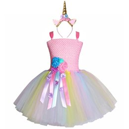 4t vestito di compleanno fantasia online-Ragazze pastello fiore Unicorno Tutu Dress Sweet Girl Birthday Party Dress Bambini Bambini Tulle Princess Dress Fancy Unicorn Costume J190506