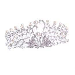 kronenförmige perlen Rabatt Tiaras Und Kronen Kristall Perlen Prinzessin Braut Krone Swan Form Hochzeit Haarschmuck Für Frauen Partei Schmuck