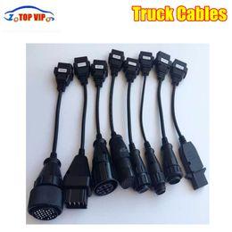 Conjunto de cabos obd2 on-line-1/2 / 3sets caminhão Cabos Full Set 8pcs Cabos OBD2 Caminhões diagnóstico ligar para caminhões multimarcas