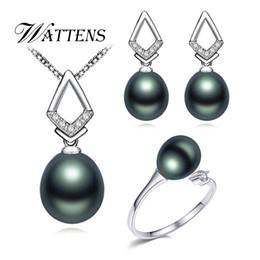 Jade ring set online-Perlenschmuck Sets 925 Sterling Silber Anhänger Ohrstecker Ring Natürliche Perlenkette Ohrringe Ring für Frauen Zirkon Geschenk