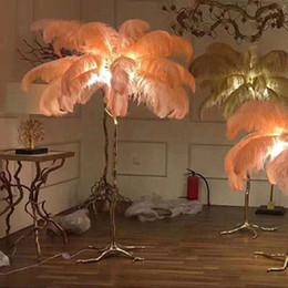 kupfer steht Rabatt Europen Artfeder-Boden beleuchtet moderne kupferne Beleuchtung AC110V 220v Wohnzimmergold-stehende Lampenhöhe 150cm