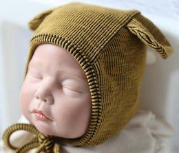 tejer sombreros redondos Rebajas Sombrero de bebé Gorro de punto Sombreros Cojines de oso redondo Máquina tapa redonda Protege el oído Bonete Bebé Gorras de invierno lindas