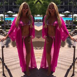 Vestido de uma peça de praia wrap on-line-Mulheres envoltório de chiffon pareo sarongue dress one piece biquíni cachecol praia biquíni swimwear encobrir cachecol quatro cores