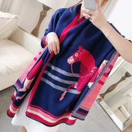 stole patterns Promo Codes - Quality Pashmina Women design double-faced Animal Horse Pattern Brand h-Scarf Soft Stole