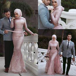 vestido de sirena blanca kim kardashian Rebajas 2019 musulmán rosa sirena vestidos de baile joya cuello apliques de encaje de manga larga vestidos formales fiesta de noche desgaste vestidos de noche