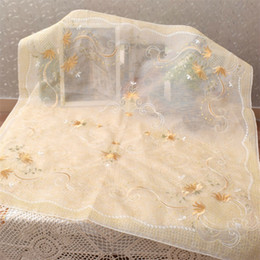 Квадратные вышитые скатерти онлайн-85CM  Square Fine Lace Embroidery Table Cloth Towel Kitchen Tablecloth Cover Mantel For Christmas Wedding Gift Decor