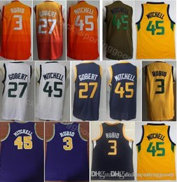 College Basketball 27 Rudy Gobert Jersey City Edition 45 Donovan Mitchell 3  Ricky Rubio Jerseys Orange Navy Blue White Yellow Team Color f5ebf4b63