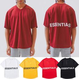 v basquete basquete basquete Desconto Fundamentos de Malha Jersey T shirt Dos Homens de Manga Curta Com Decote Em V Solto Tee Basquete Kanye West FOG Essentials Hip Hop Camisetas CLI0601