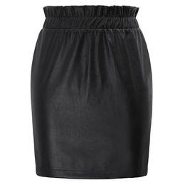 Falda lápiz de piel sintética roja online-Negro / rojo Señoras Básicas Faldas de Las Mujeres Frilled Elástico Cintura Faldas de Cuero de Imitación Sexy Hips envuelto Bodycon Lápiz Faldas Faldas Y1904002