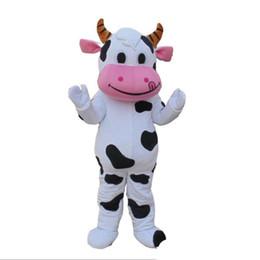 Costume della mascotte della mucca da latte online-2018 vendita calda di alta qualità PROFESSIONAL FARM DAIRY COW costume della mascotte fursuit Fancy Dress spedizione gratuita