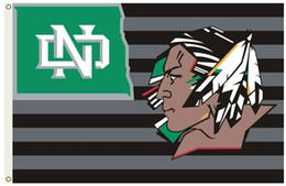 Banderas deportivas online-North Dakota Fighting Sioux Flag University Flag y Banner 150CM * 90CM 3 * 5FT Poliéster Banner personalizado Bandera de deportes