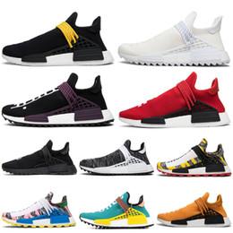 Lazos juveniles online-Adidas nmd human race Pharrell Williams HUMAN RACE Zapatos para correr Holi nerd noble ink pale nude PASSION PEACE HAPPY Tie-dye Yellow YOUTH core back Calzado deportivo