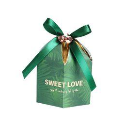 Souvenirboxen süßigkeiten online-50pcs Green Candy Box mit Ribbon Chocolate Geschenkboxen Souvenirs für Gäste Hochzeit Gefälligkeiten und Geschenken Geburtstag Baby Shower Favors Boxen