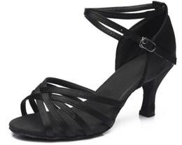 Vendita calda Donne Scarpe da ballo professionali Scarpe da ballo per sala da ballo Scarpe da ballo latino con tacco 5CM / 7CM da scarpe da ballo latino donna fornitori