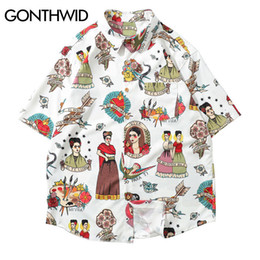 Gonthwid Frida Kahlo Viva La Vida Hawaii Aloha Beach Camicie Estate Uomo Casual Maglie a manica corta Fashion Party Holiday Shirt C19041101 da