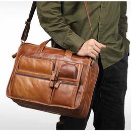 2018 Men Briefcase Real Cow Genuine Leather Business Handbag Laptop Casual  Large Travel Shoulder Crossbody Messenger Bags Luxury d4028a82f979c