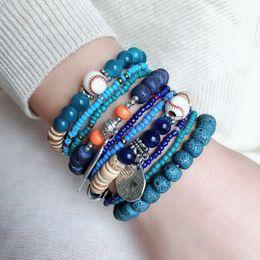 Renkli Bohemian Boncuk Bilezik Kadınlar Katmanları Elastik Pirinç Boncuk Bilezik Moda Kadınlar Ve Erkekler Moda Takı 6 Renkler Toptan cheap wholesale jewelry bohemian beads nereden toptan takı bohem boncuk tedarikçiler