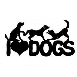 2020 al por mayor perro pegatinas de parachoques Venta al por mayor 20 unids / lote I Love Dogs Pet Vinyl Decals Lovely Playing Dogs Car Sticker Car Truck Bumper 13 colores 18 * 6 cm al por mayor perro pegatinas de parachoques baratos
