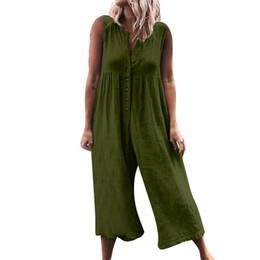 mono pierna ancha verde Rebajas 2019 El más nuevo mono casual de las mujeres sin mangas del mameluco elegante botón de pierna ancha pantalones gris ejército verde mono o-cuello de dama overoles