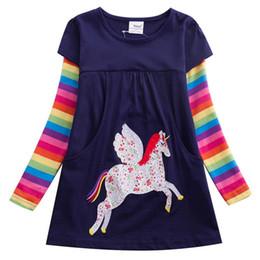 95% coton robe de fille de broderie de licorne coton robe de jersey de coton ajustée Sunny Days Getaways ? partir de fabricateur