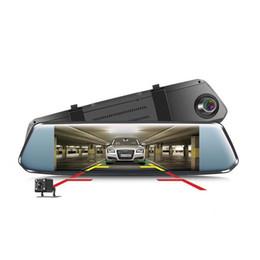 2019 двойное зеркало заднего вида автомобиля dvr Автомобильный видеорегистратор с двумя объективами и 7-дюймовым Full HD 1080P видеорегистратором Зеркало заднего вида Видеорегистратор Регистратор Автомобильный 2.5D из гнутого стекла Dash Cam дешево двойное зеркало заднего вида автомобиля dvr