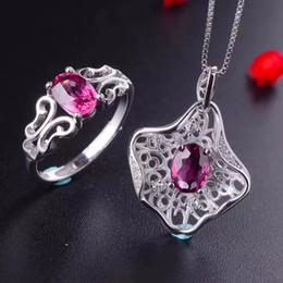 имитация прозрачный браслет Скидка [MeiBaPJ Fine Quality Natural Red Garnet Gemstone Модный комплект ювелирных изделий для женщин реального 925 стерлингового серебра Charm Fine Jewelry