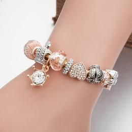 Charme unique pandora en Ligne-Mode alliage fit pandora bricolage perles charme bracelets couronne quatre feuilles bracelet coeur bracelet unique percer amour bracelets femmes bijoux en gros
