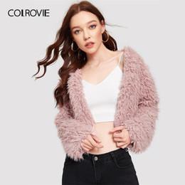 COLROVIE Pink Open Front Winter Faux Fur Crop Jacket Coat mujeres 2019 moda coreana Streetwear para mujer abrigos de fiesta abrigos desde fabricantes