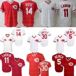 johnny panca jersey Sconti Maglia Cincinnati 5 Johnny Bench Reds 30 Ken Griffey Jr. 14 Pete Rose 11 Barry Larkin 17 Maglia Chris Sabo Maglia retrò da baseball