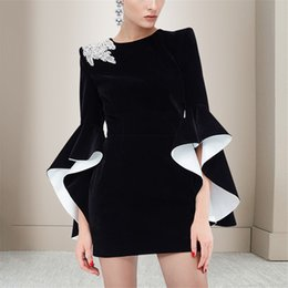 5bfac16b251 High Quality 2019 Spring Women Vintage Dresses Flare Sleeve Diamonds Black  Mini Dress Holiday Vacation Vestidos
