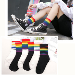 Meias esporte coreano on-line-New Fashion Rainbow Socks Cotton Sport Cycling Socks Cute Ladies Hip Hop korean Style Women Harajuku Long Streetwear Sox