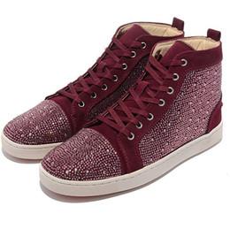 Р. 36-47 высокого класса menwomen пользовательские Высокий Верх повседневная обувь горный хрусталь эксклюзивный новый дизайнер ну вечеринку красные нижние кроссовки открытый обувь В8 от