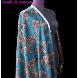 tecidos para impressão digital Desconto Largura 108 cm bom estiramento charmeus tecido de seda azul paisley impressão digital tecido de seda material de costura diy dress cheongsam