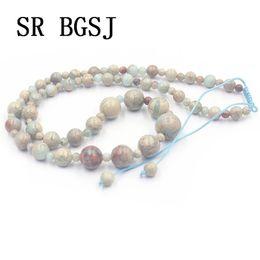 2019 elegante collar de piedra Envío Gratis 4-12mm Shoushan Stone Graduado Gemas Naturales Ajustable Elegante Collar de Joyas 18