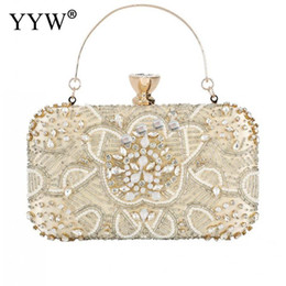 silver rhinestone purse Promo Codes - Diamond Clutches Pearls Beaded Day Clutch Purses And Handbags Rhinestone Evening Bags Wallet Evening Wedding Bag sac a dos