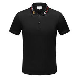 gráfico longo da luva dos homens camisetas Desconto Os New Verão Bee Cobra bordados de algodão lapelas dos homens do desenhista camisetas elegante e simples do desenhista camisas