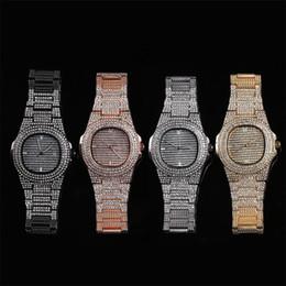 Goldkette armbanduhren online-Hip Hop Herrenuhren Datum Quarz Armbanduhren Gold Farbe Edelstahl Uhr Gliederkette Armband Für Männer Schmuck