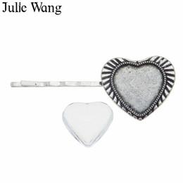 I capelli di barrette dei capelli online-Julie Wang argento antico a forma di cuore Hairgrip tornante impostazione vuoto con vetro cabochon ragazza donne moda clip di capelli Barrette