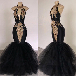 purple feather dresses Promo Codes - 2019 sexy Black Prom Dresses with Gold Applique Mermaid South Africa Formal Evening Dress Halter Neck Sweep Train pageant Party Dresses