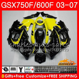 2019 intercettore giallo honda Body kit Per SUZUKI KATANA GSXF600 GSXF750 Giallo nero 03 04 05 06 07 3HC.51 GSX750F GSX600F GSXF 750 600 2003 2004 2005 2006 2007 Carenatura